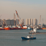 Port of Tianjin China and Boats