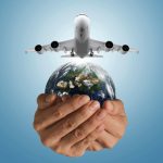 World w Hands and Airplane (1)
