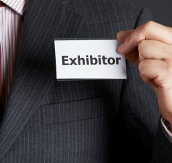Exhibitor name badge for trade shows.