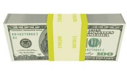 One hundred dollar bills wrapped