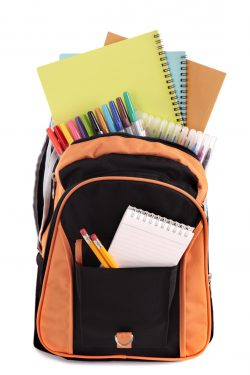 School bag with back to school supplies
