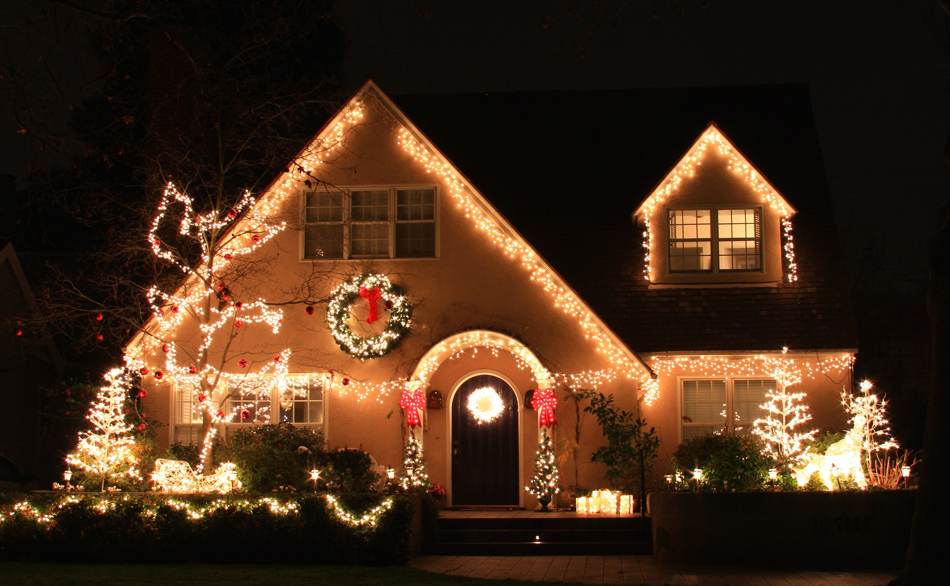 christmas decorations and lights house